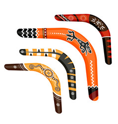 set of painted traditional australian boomerang vector image vector image