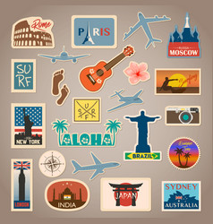 travel sticker and label set with famous vector image