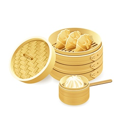 bamboo steamers vector image