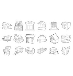 building icon set outline style vector image vector image