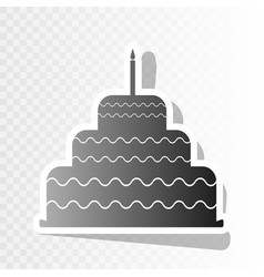 cake with candle sign new year blackish vector image vector image
