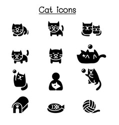 cat icon set graphic design vector image