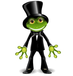Frog in a top hat vector image vector image