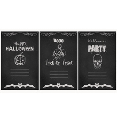 Halloween greeting cards set Grunge vector image vector image