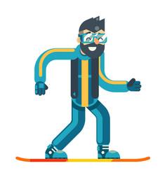 snowboard skate happy smiling man geek hipster vector image vector image