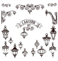 vintage lamps set vector image