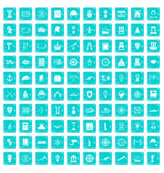 100 history icons set grunge blue vector