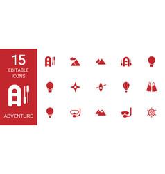 15 adventure icons vector