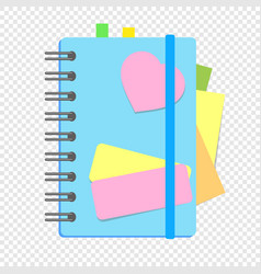 a colored closed notebook on a spring with vector image