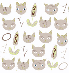 abstract cats seamless animals nature pattern it vector image