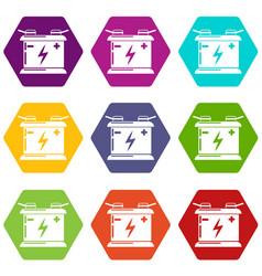 accumulator icons set 9 vector image