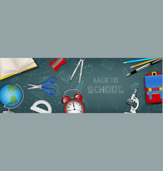 back to school banner with school accessories vector image