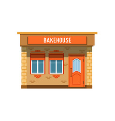 Bakehouse facade bread shop building vector