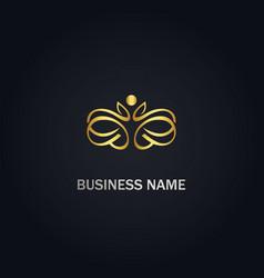 beauty decoration ornament gold logo vector image