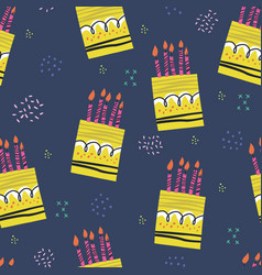 birthday cakes hand drawn seamless pattern vector image