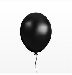 black balloon party baloon with ribbon and vector image