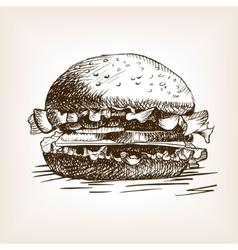 Burger sandwich hand drawn sketch style vector image