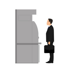 businessman in suit with briefcase stands near atm vector image