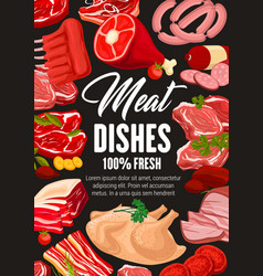 butchery meat beef and pork butcher shop sausages vector image