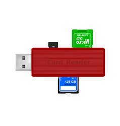 Card reader for reading memory cards in vector
