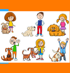 Children with dogs cartoon set vector