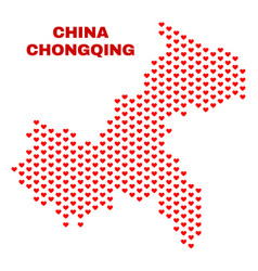 chongqing city map - mosaic of lovely hearts vector image