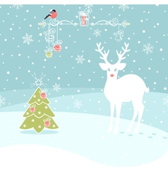 Christmas Congratulatory Background With Deer and vector