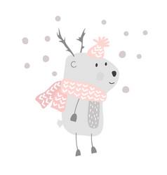 Christmas cute cartoon deer in hat and vector