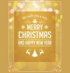 christmas greetings typography on yellow vector image