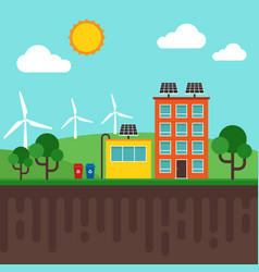 city renewable energy concept vector image