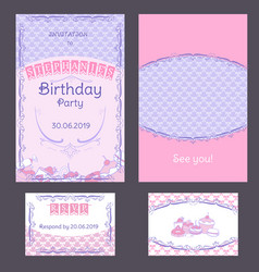 colorful vintage birthday invitation cards set vector image