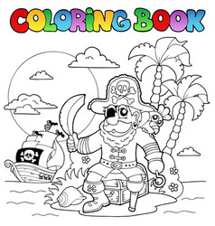 Coloring book with pirate theme 4 vector