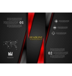 Contrast black red tech presentation brochure vector
