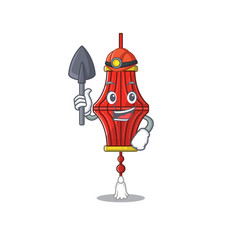 Cool miner chinese paper lanterns cartoon vector