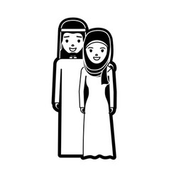 Cute arab couple cartoon vector