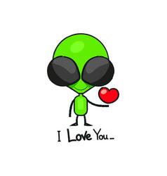 cute cartoon alien drawing vector image