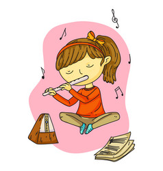 Cute little girl playing melody on pipe cartoon vector