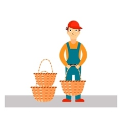 Delivery Man with Baskets vector