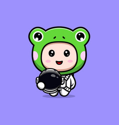 Design of cute boy wearing frog costume vector
