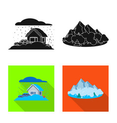 Design of natural and disaster logo set of vector