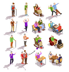 Elderly people isometric set vector