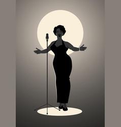elegant curvy and sexy jazz singer woman singing vector image