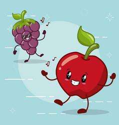 emotions kawaii fruits vector image