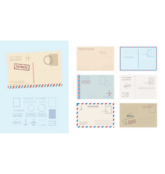envelope postcard template set stylish card vector image