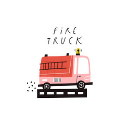 fire truck text and cute cartoon engine vector image