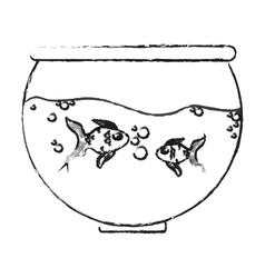 Fishbowl cartoon icon vector
