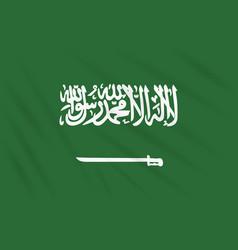 Flag saudi arabia swaying in wind realistic vector