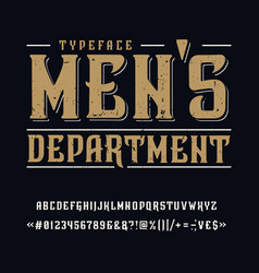 font mens department vintage typeface design vector image