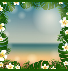 Frame palm tree and plumeria vector