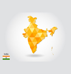 geometric polygonal style map of india low poly vector image